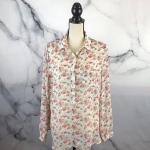 LOFT floral print long sleeve collared blouse